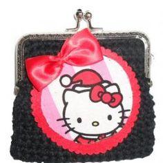 Carteira preta com aplicação da Kitty e laço de Natal