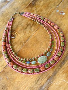 Tribal Gemstone Necklace Pink Jasper Moss by EarthGoods4TheSpirit,
