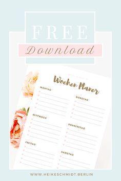 Plane Deine Woche - kostenlose Vorlage✓ Planner A5, Lemon Bars, Filofax, Bujo, Free Printables, Stampin Up, Bullet Journal, Stationery, Creative