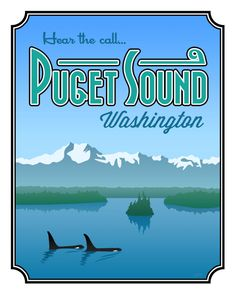 Puget Sound Poster Print - Large x Vintage Travel Posters, Poster Vintage, Vintage Signs, Vintage Art, Even The Rain, Beach Posters, Evergreen State, Pub, Cannon Beach