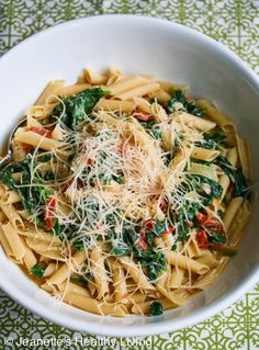 Pasta with Spinach Tomatoes and Parmesan Cheese - this healthy pasta dish takes just 20 minutes to make - light and meatless ~ http://jeanetteshealthyliving.com