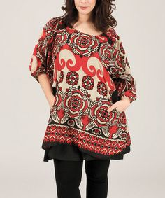 Loving this Red & Beige Arabesque Bell-Sleeve Tunic - Plus on #zulily! #zulilyfinds