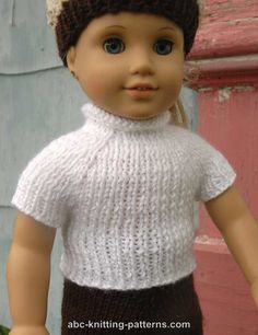 Free pattern - American Girl Doll Seamless Raglan Top