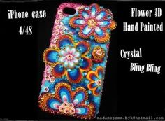 Flower 3D iphone case Hand Painted 4 / 4S Swarovski Crystal cover skin handmade