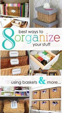 Home organizing ideas using baskets. Affordable storage and easy way to keep drawers and more organized. Free printable labels to attach to baskets to help you stay organized. #organization #homestorage #repurpose #declutter