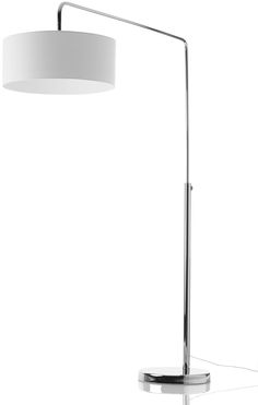 """Shower Mega floor lamp, available in different colors. As shown, chrome/white fabric. H73¼xØ20½"""". [Shower Mega]"""