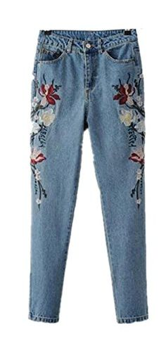e3d4e791d84 Skirt BL Womens Embroidery High Waisted Mom Jeans Blue StraightLeg Washed  Denim Trousers    Amazon most trusted e-retailer