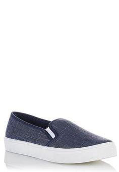 c119549d5eb50a Cato Fashions Metallic Plaid Slip-On Sneakers  CatoFashions Slip On Sneakers