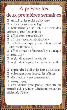 To-do list pour agenda - Fiches de préparations can find Organized teacher and more on our website.To-do list pour agenda - Fich. School Organisation, Teacher Organization, Teacher Hacks, Organized Teacher, Classroom Management Tips, Classroom Rules, Diy Back To School, First Day Of School, Core French