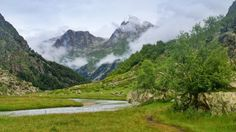 mountain stream - mountain, stream, valley, meadow, clouds
