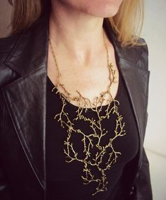 Statement Twig Necklace,Bronze Branch Necklace, Cascading Necklace, Tree Necklace by BijuBrill