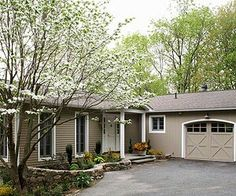 pictures of gray houses with colored doors