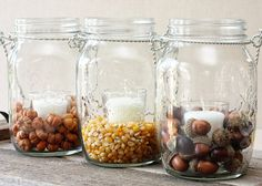 Inexpensive fall decor inspired by Pottery Barn using hanging mason jars!