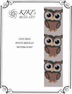 Pattern peyote bracelet Cute owls peyote by KikisBeadArts on Etsy