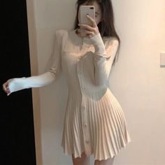 Jk japanese knit pleated dress in 2019 beauty, i gue Asian Fashion, Boho Fashion, Girl Fashion, Fashion Dresses, Womens Fashion, Fashion Trends, Fashion Top, Fashion 2017, Fashion Online
