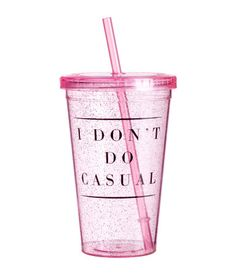 Mug in clear plastic with a printed design. Screw top with straw. Diameter at top 4 in., height 6 in. Plastic Mugs, Pink Plastic, Adult Lunch Box, Drinking Jars, Cup With Straw, Tumbler With Straw, Cute Water Bottles, Glitter Bomb, Cool Notebooks