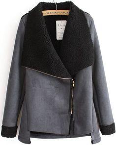 Black Long Sleeve Oblique Zipper Coat by: SheInside