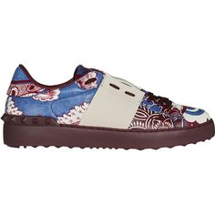 Valentino Printed Sneaker ($515) ❤ liked on Polyvore featuring shoes, sneakers, blue, studded shoes, valentino shoes, laced shoes, blue sneakers and lace up shoes