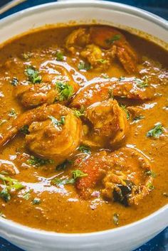 Close up shot of Goan Style Prawn Curry