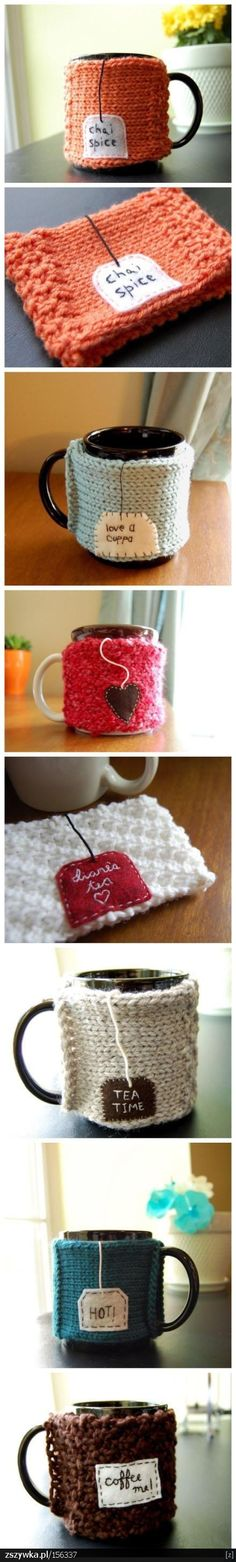 Easy mug snugs. Knit or Crochet a rectangle the width of a mug and long enough to wrap around a mug (make sure it is going to be tight). Embroider and felt applique. Fold in half length-wise and where the corners meet, sew just a tad on each end and you are done!