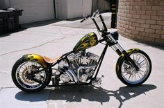 b61f06d054 CFL 2up Black Gold Flames built by West Coast Choppers - WCC of U.S.A.  Bobber Motorcycle