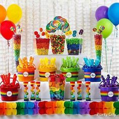 Rainbow Candy Buffet Ideas l St. Patrick's Day Party Fun l Party City l My Little Pony Party, Fiesta Little Pony, Rainbow Parties, Rainbow Birthday Party, 1st Birthday Parties, Birthday Ideas, Rainbow Theme, Rainbow Colors, Rainbow Ribbon