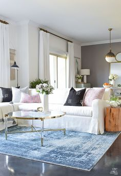 Decked & Styled Spring Tour 2018 - love the gray/white/washed indigo/charcoal/pastel pink combo Living Room On A Budget, Cozy Living Rooms, New Living Room, Living Room Decor, Affordable Home Decor, Living Room With Fireplace, Spring Home, Home Decor Inspiration, Decoration