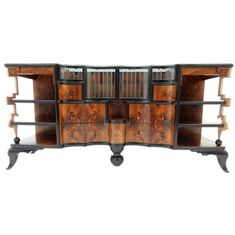1920s-1930s Art Deco Burl Wood Dry Bar Sideboard Cabinet   From a unique collection of antique and modern sideboards at https://www.1stdibs.com/furniture/storage-case-pieces/sideboards/
