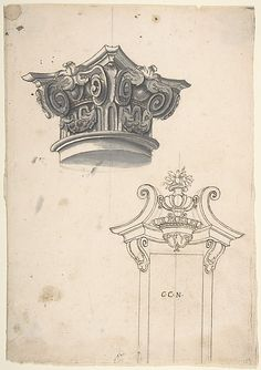 Designs for a Capital, and for a Doorway Anonymous, Italian, Piedmontese, 18th century