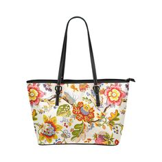 Jacobean Embroidery Fine Art Floral Leather Tote Bag/Small (Model 1651)