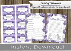 Girl Baby Shower Word Search Game Cards Diaper by PrimoPrintables, $14.00
