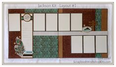 "Scrapbooking Kits:  Layout #1 in the ""Jackson"" 6 Page Scrapbook Kit - $20 www.tina.ctmh.com"