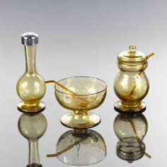 Rare smoky soffiato and gold leaf Murano glass cruet set by Pauly & C, Venice, Italy c. 1925