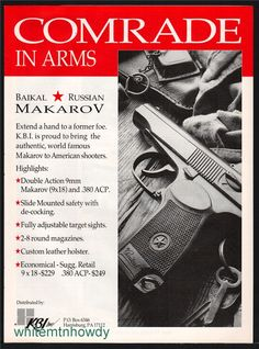 1995 Russian BAIKAL MAKAROV DA 9mm Pistol PRINT AD : Other Collectibles at GunBroker.com