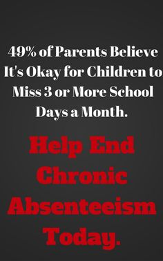 Check out the DOE's new campaign. http://www.educationworld.com/a_news/majority-american-parents-unaware-how-harmful-monthly-school-absences-can-be-1759791365
