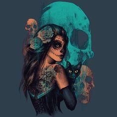 Sugar skull girl, girl with cat, La Calavera Catrina
