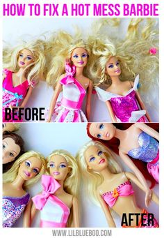 """to Detangle Doll Hair Tutorial How to fix a hot mess Barbie. I don't have a little girl, but I think this is good to know. Let you're daughter help and make it a fun """"spa day"""" for the dolls.Think! Think! may refer to: Doll Hair Detangler, Doll Hair Conditioner, Detangle Hair, Barbie Und Ken, Barbie Clothes, Girl Dolls, Cool Kids, American Girl, American Dolls"""