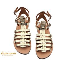 GLADIATOR SANDALS from 100% Full Grain Leather  in Gold - Natural - Black color by NickysLeather
