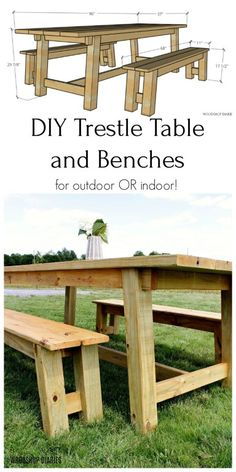 Trestle Table and Bench Set--{Printable Building Plans and 8 Step Tutorial!