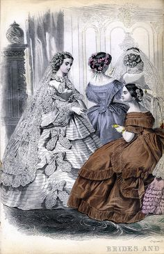 Bridal fashion plate from the December 1860 issue of Godey's Lady's Book.