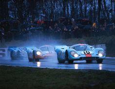 The Gulf Oil/John Wyer Racing Porsche 917s at the 1970 Brands Hatch 1000 km.