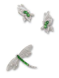 Three jadeite and diamond brooches (3)