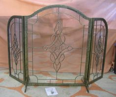 leaded glass fireplace screens. Amazon com  Uniflame Arched Top Three Fold Premium Lead Glass Fireplace Screen in Antique Vintage Brass Colonial Scene