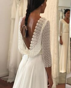 What an amazing back✨🥰 by Eloquential Bride Country Wedding Dresses, Princess Wedding Dresses, Colored Wedding Dresses, Wedding Bridesmaid Dresses, Dream Wedding Dresses, Bridal Dresses, Paris Chic, Lace Dress With Sleeves, The Dress