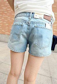 New woman summer summerwashed skinny denim shorts in spring and summer white skinny denim hot pants women