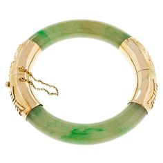 View this item and discover similar for sale at - Vintage wide hinged GIA certified natural green Jadeite Jade bangle bracelet, circa yellow gold detailed hinge caps. Gold Bangle Bracelet, Gold Bangles, Jewelry Bracelets, Necklaces, Le Jade, Gold Diamond Earrings, Diamond Bangle, Diamond Jewellery, Jade Jewelry