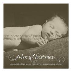 Stylish Baby First Christmas Flourish Photo Card