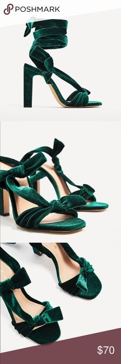 Zara green velvet lace up high heel sandals Glamorous! Love bow details.  Great for holiday parties.. it'll be here before you know it! Euro sizes 38(7.5), 39(8) Zara Shoes
