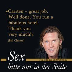 """""""... Der mächtigste Mann der Welt kannte meinen Namen! Und hatte mich gelobt! Um mich, den Ex-Tennisspieler ohne relevanten Schulabschluss, zu loben, lässt er sämtliche Staatsgäste und VIPs im Saal sitzen! Ich war wie vom Donner gerührt. Und es begann eine neuen Service-Ära für mich, der »Post-Clinton-Abschnitt« meiner Karriere... """"  Mehr dazu auf """"Sex bitte nur in der Suite – Aus dem Leben eines Grand Hoteliers"""" - Jetzt auch als #Hörbuch: http://sex-bitte-nur-in-der-suite.de"""