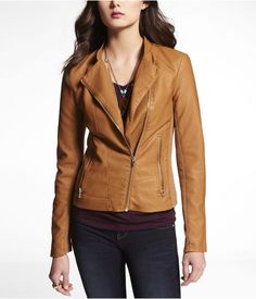 Express Womens (Minus The) Leather Biker Jacket Caramel, Medium